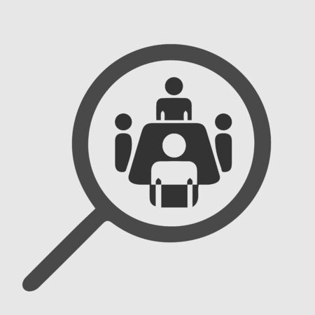 Meeting around table. Magnifying glass vector icon eps 10. 向量圖像