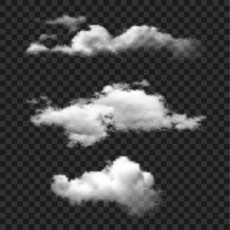 Icona di vettore set cloud. Nuvole su sfondo trasparente. Illustrazione isolata semplice. Vettoriali