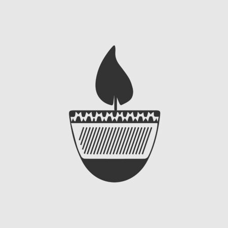 Diwali icon. Indian festival. Simple isolated pictogram.