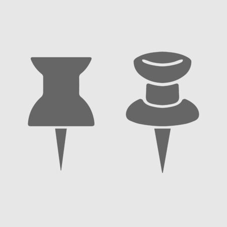 Pin set vector icon. Board thumbtack. Simple isolated pictogram.