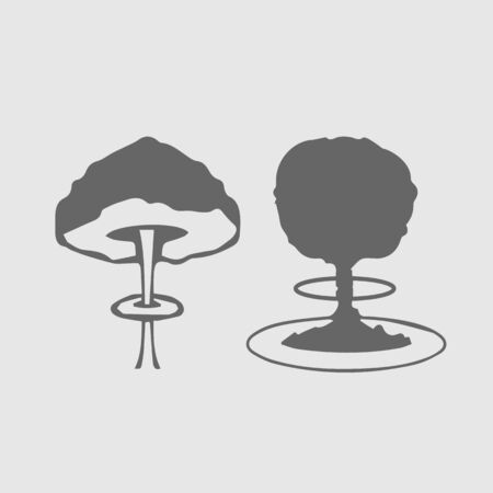 Mushroom cloud set. Nuclear explosion. Simple isolated vector icon. Illustration