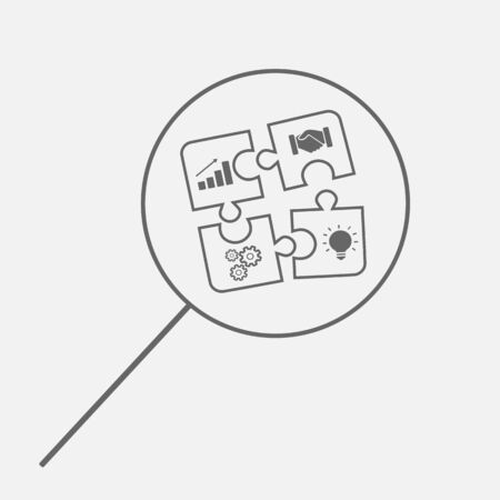 Business cooperation concept. Teamwork search symbol. Puzzle in magnifying glass. Vector icon illustration.