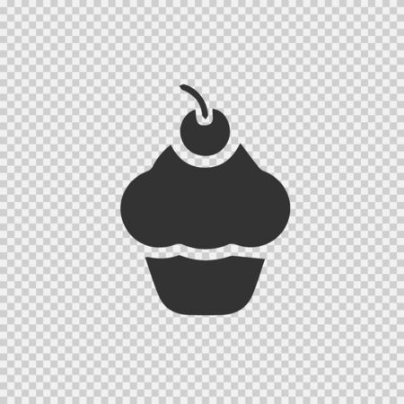 Cup cake vector icon. Cupcake simple isolated pictogram.