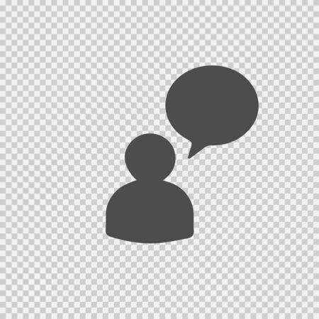 Man with bubble vector icon. Person speech. Illustration