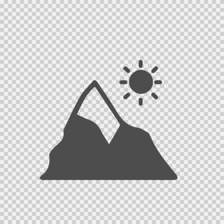 Mountain and sun vector icon. Landscape nature symbol simple isolated illustration.