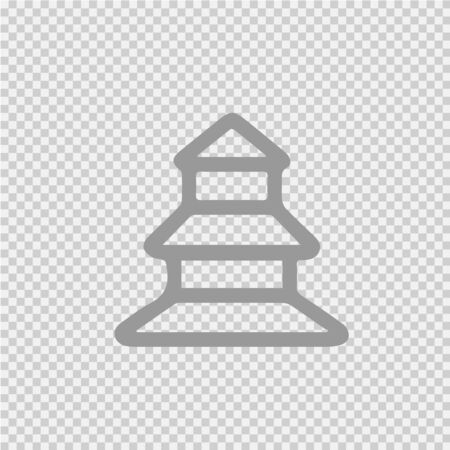 Pagoda vector icon. Chinese temple simple isolated pictogram.
