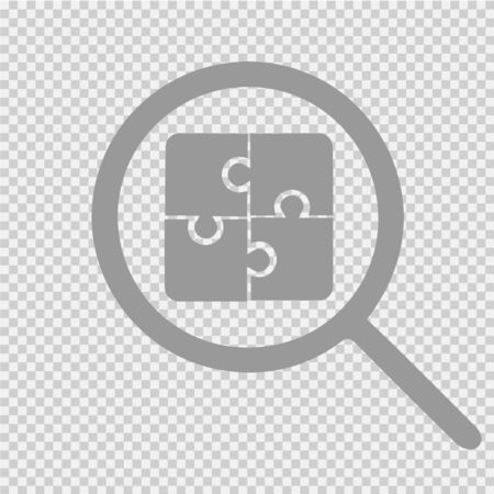 Puzzle vector icon eps 10. Jigsaw and magnifying glass.
