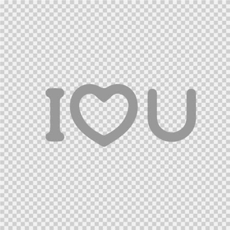 I love you text with heart symbol.