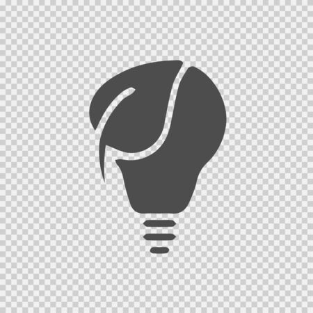 Bulb and leaf vector icon . Simple isolated pictogram. Eco energy light. Illustration