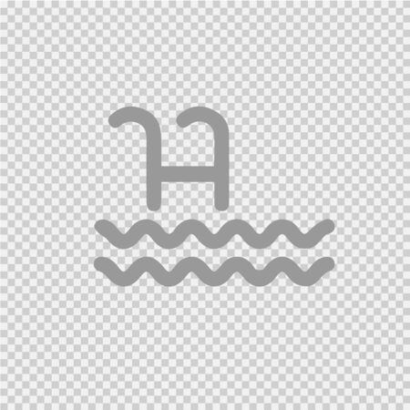 Pool ladder vector icon. Simple isolated water stairs logo.