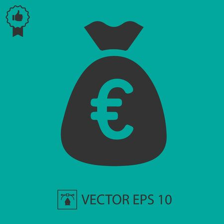 Money bag with euros vector icon. Simple isolated pictogram.
