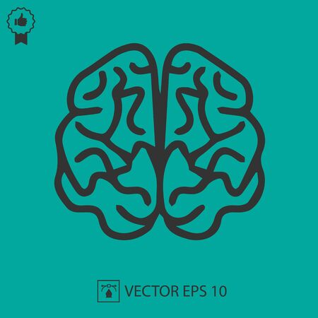 Brain vector icon eps 10. Simple isolated illustration. Illustration
