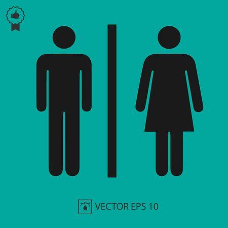 Damen- und Herrentoilettenzeichen-Vektorsymbol. Toilettensymbol. Einfache isolierte Abbildung.