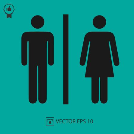 Icône de vecteur de signe de toilette de dame et d'homme. Symbole des toilettes. Illustration isolée simple.