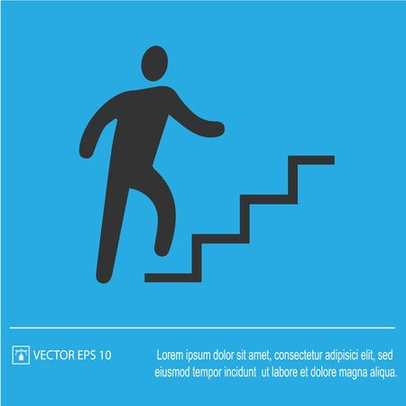Career success metaphor. Businessman on stairs running up vector icon