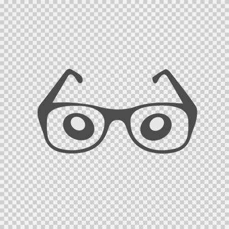 Glasses and eyes cartoon illustration. Simple isolated vector icon