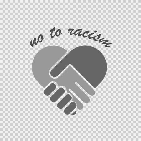 No to racism illustration. Discrimination symbol. Handshake forming heart sign.
