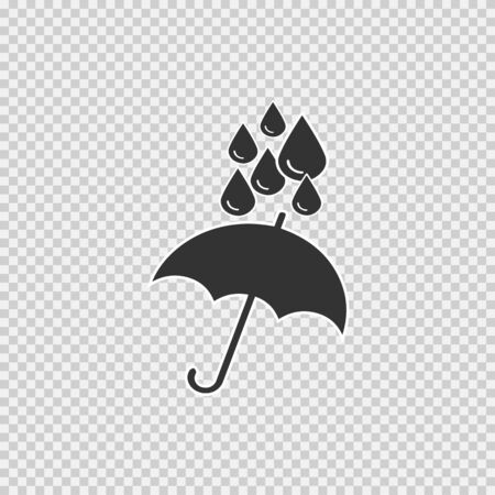 Umbrella and water drops simple isolated vector icon Ilustração