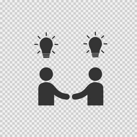 Businessman meeting vector icon. Handshake symbol. Handshake with bulbs. Business deal logo sign. Black and white simple isolated icon.