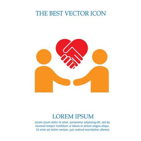 Businessman meeting vector icon. Handshake symbol. Handshake forming a heart. Ilustração