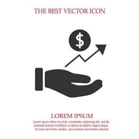 Dollar in hand vector icon. Profit symbol.