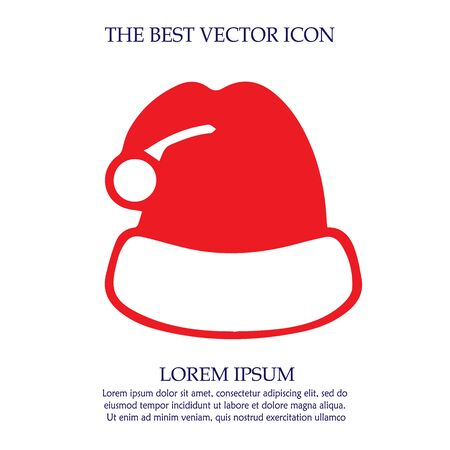 Christmas hat vector icon. Simple isolated santa claus cap sign symbol.