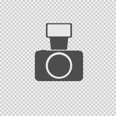 Photo camera with flash vector icon eps 10. Simple isolated illustration. 向量圖像