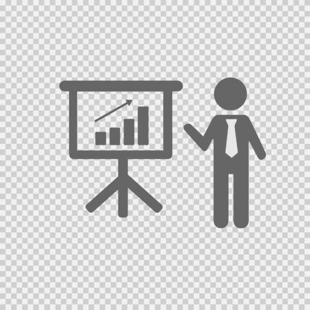Business meeting simple isolated vector icon eps 10. Businessman with tie and chart graph board. Stock Illustratie