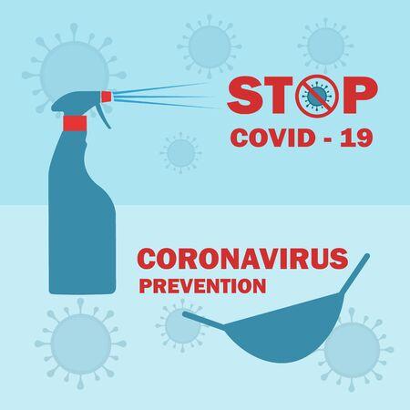 Stop coronavirus covid 19 epidemic prevention. Protection against corona pandemic disease. Poster or banner vector illustration.