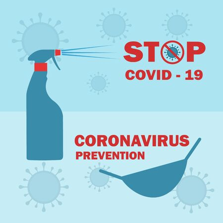Stop coronavirus covid 19 epidemic prevention. Protection against corona pandemic disease. Poster or banner vector illustration.