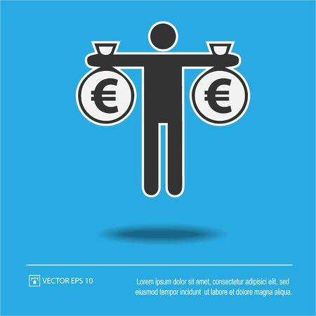 Man holding bag of money euros