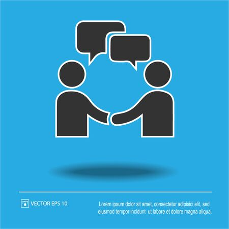 Businessman meeting with bubble and handshake. Simple isolated vector icon. Business agreement symbol sign.