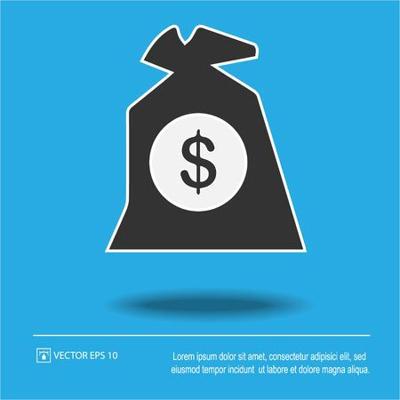 Money bag with dollars vector icon. Simple isolated pictogram.