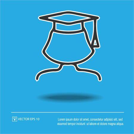 Male university graduate in graduation cap vector icon eps 10. Academy symbol.