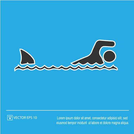 Shark attack vector icon eps 10. Fish fin and swimmer symbol. Simple isolated illustration. Ilustração