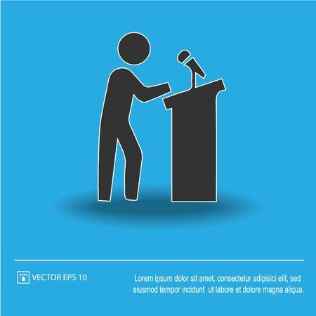 Speaker on podium vector icon