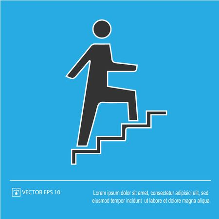 Man on stairs going up vector icon. Promotion symbol. Simple isolated illustration.