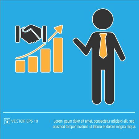 Business growth concept. Partnership vector. Increase graph handshake. Vector illustration Иллюстрация