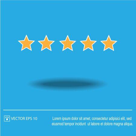 Five star rating. Vector illustration
