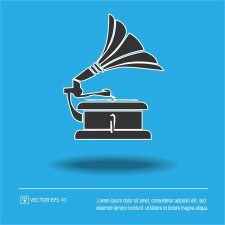Gramophone vector icon. Simple isolated illustration.