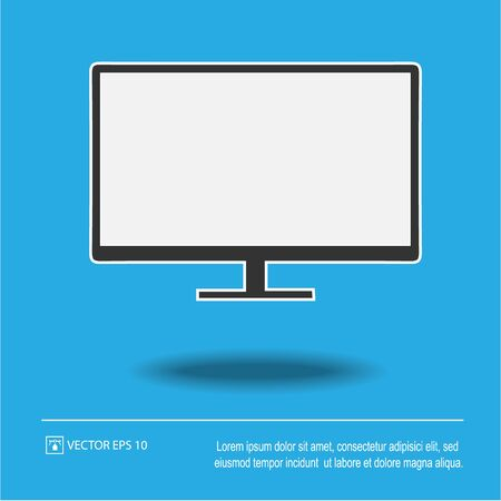 Monitor tv screen vector icon eps 10. Simple isolated illustration.