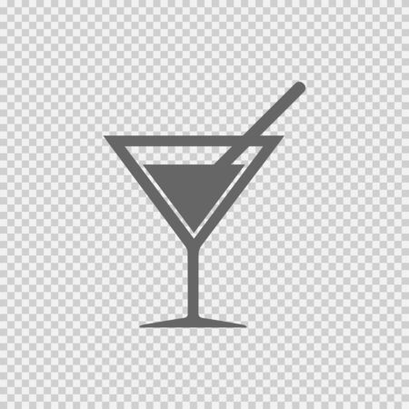 Cocktail vector icon EPS 10. Drink with straw simple isolated symbol. Stock Illustratie