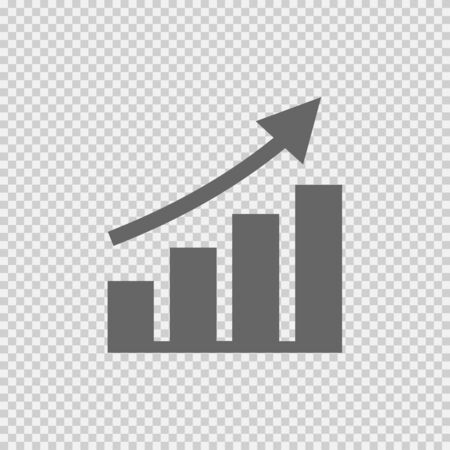 Graph increase vector icon. Chart going up simple isolated pictogram.