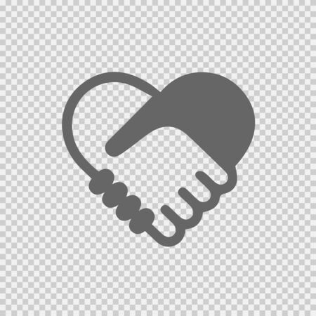 Handshake symbol forming a heart vector icon eps 10. Hands shaking.