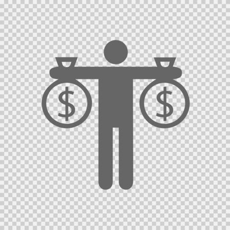 Businessman holding bag of money. Dollar vector icon. Business success simple isolated vector icon logo.