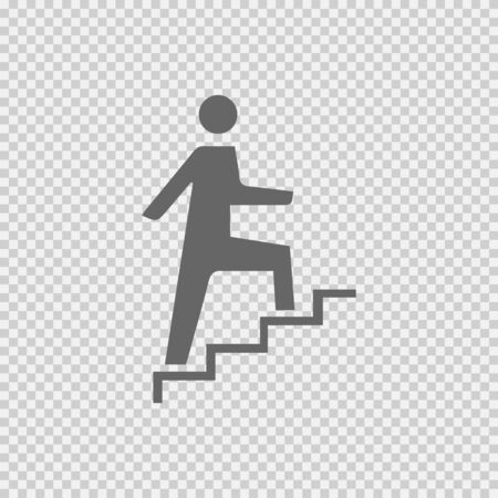 Success symbol vector icon. Business promotion concept sign. Man on stairs simple isolated logo illustration.