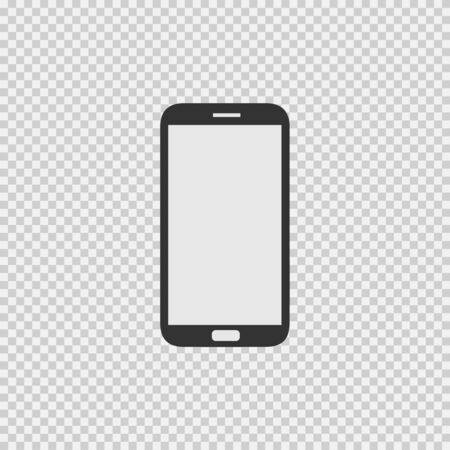 Phone vector icon. Smartphone isolated vector. Cell phone logo. Black illustration isolated on grey background.