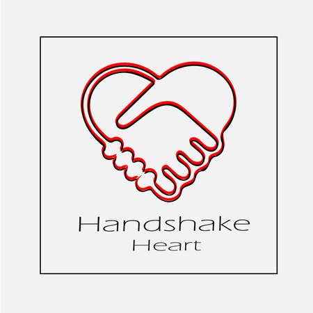 Heart handshake sign vector icon. Simple isolated outline illustration.