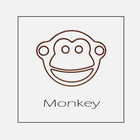 Monkey face logo vector icon. Simple isolated outline illustration. Illustration