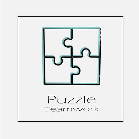 Puzzle teamwork logo vector icon. Simple isolated outline illustration.
